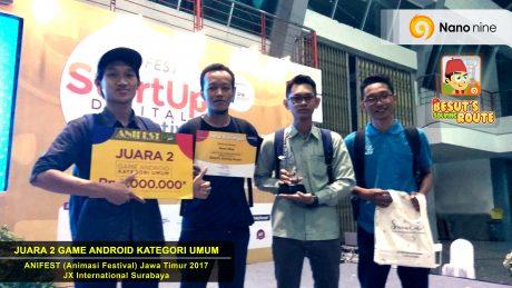 Menang juara 2 dalam event ANIFEST (festival animasi) jawa timur 2017 kategori game android