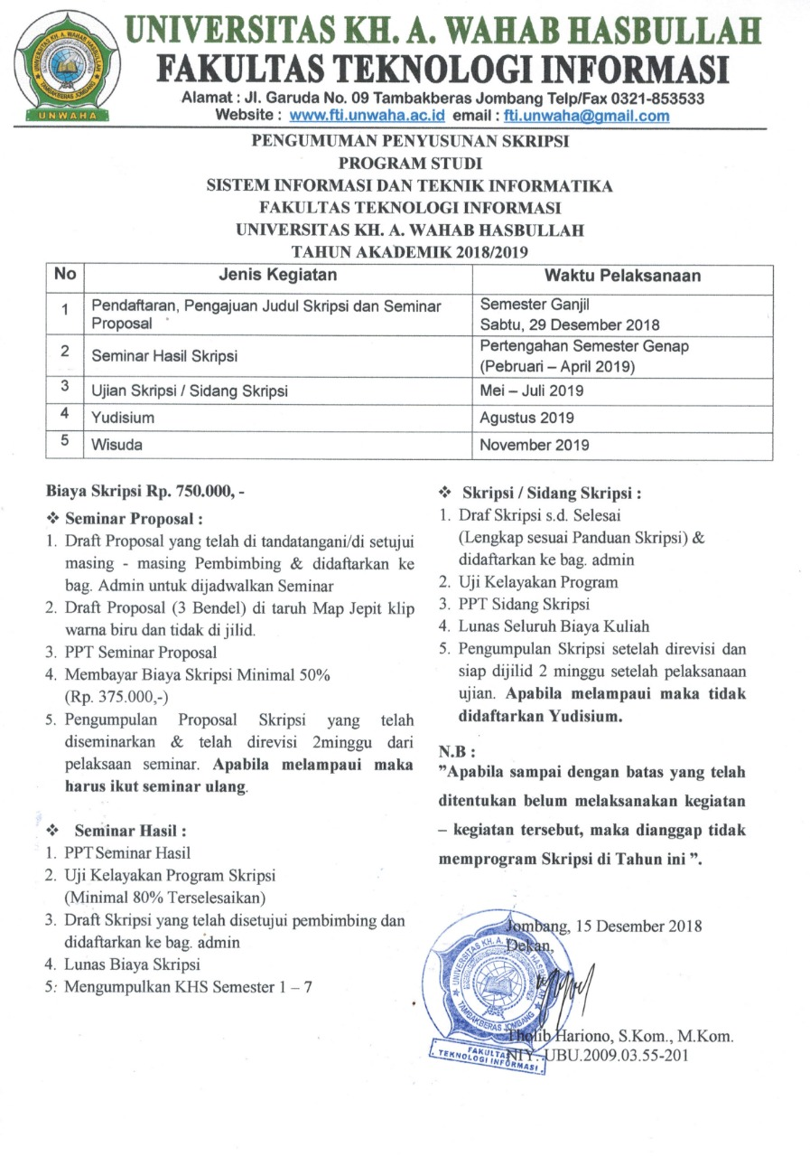 Seminar Proposal Skripsi Fti Tahun Ajaran 2018 2019