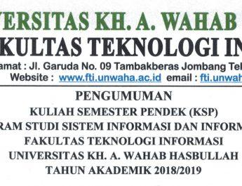 Pengumuman Kuliah Semester Pendek (KSP)